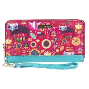 Chumbak fox in the woods pink animal print wallet